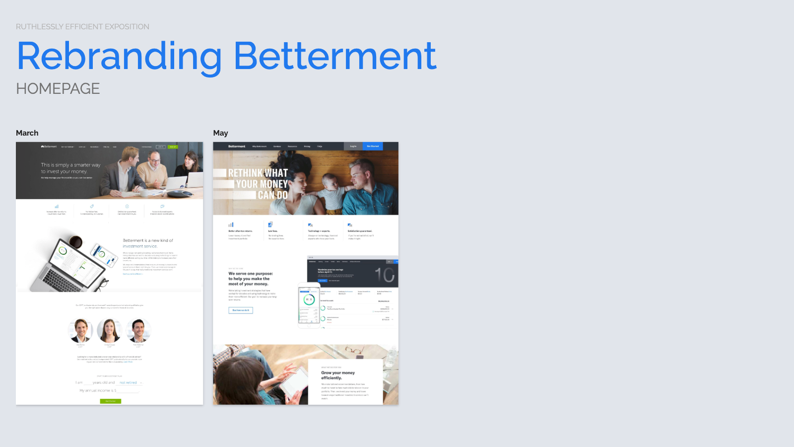 Slide content, Betterment homepage redesign, proposed before and after