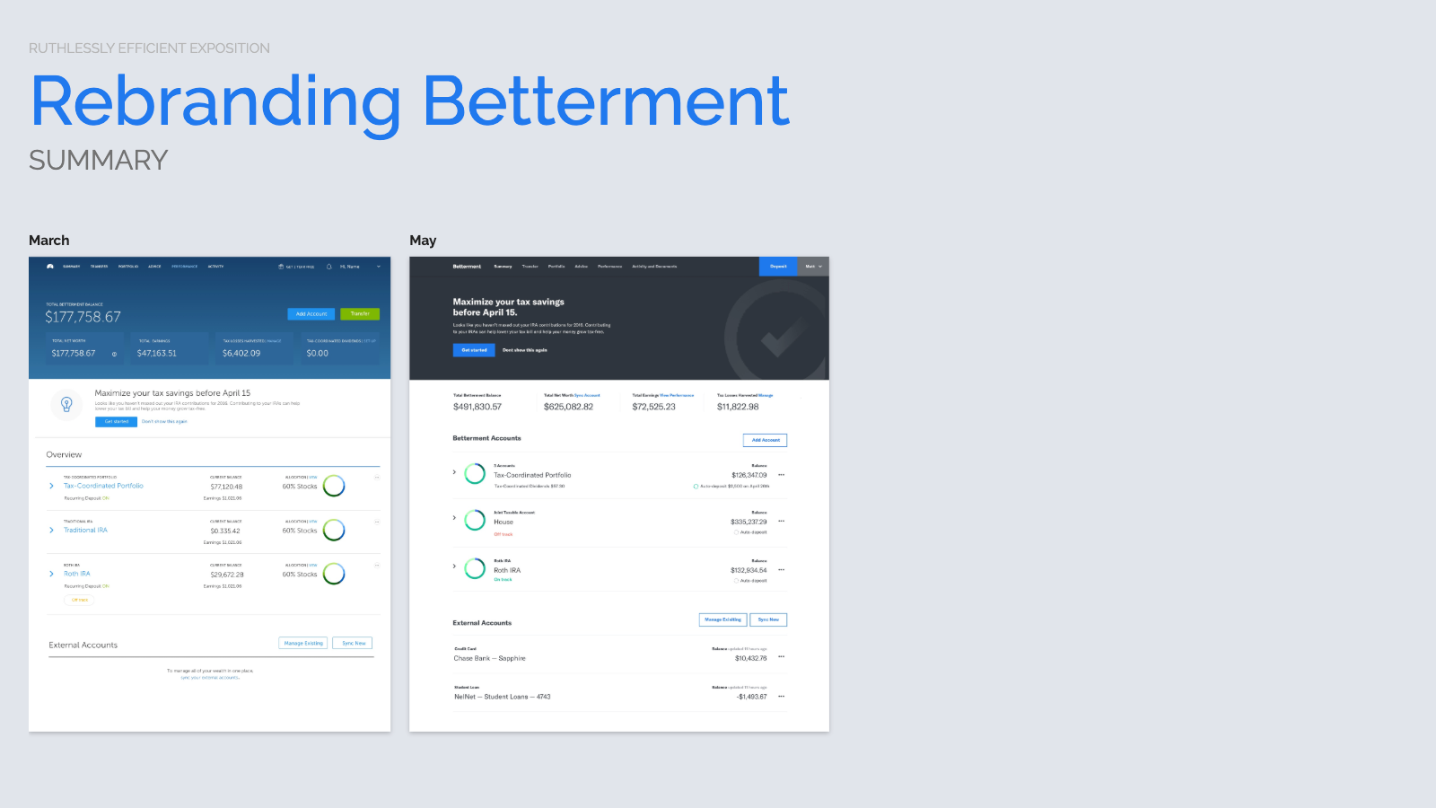 Slide content, Betterment summary page redesign, proposed before and after