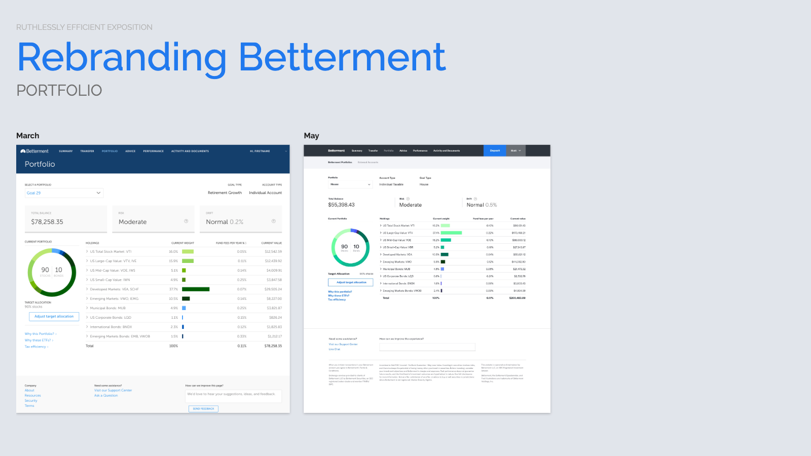 Slide content, Betterment portfolio page design, proposed before and after