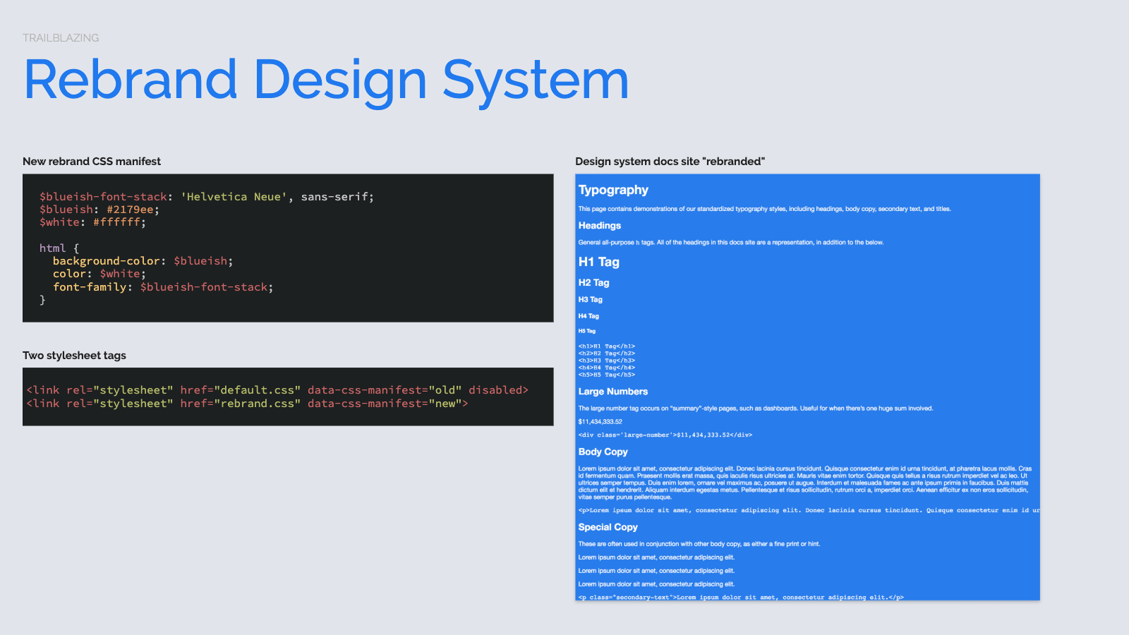 Slide content, Rebrand design system, CSS strategy for multiple stylesheets. Displaying laughably hacky rebrand styles