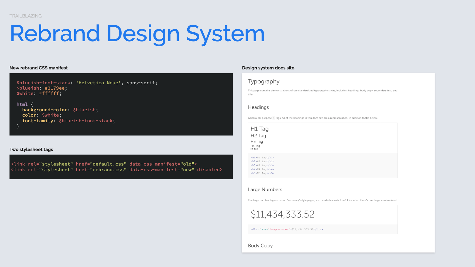Slide content, Rebrand design system, CSS strategy for multiple stylesheets. Displaying styles currently in production