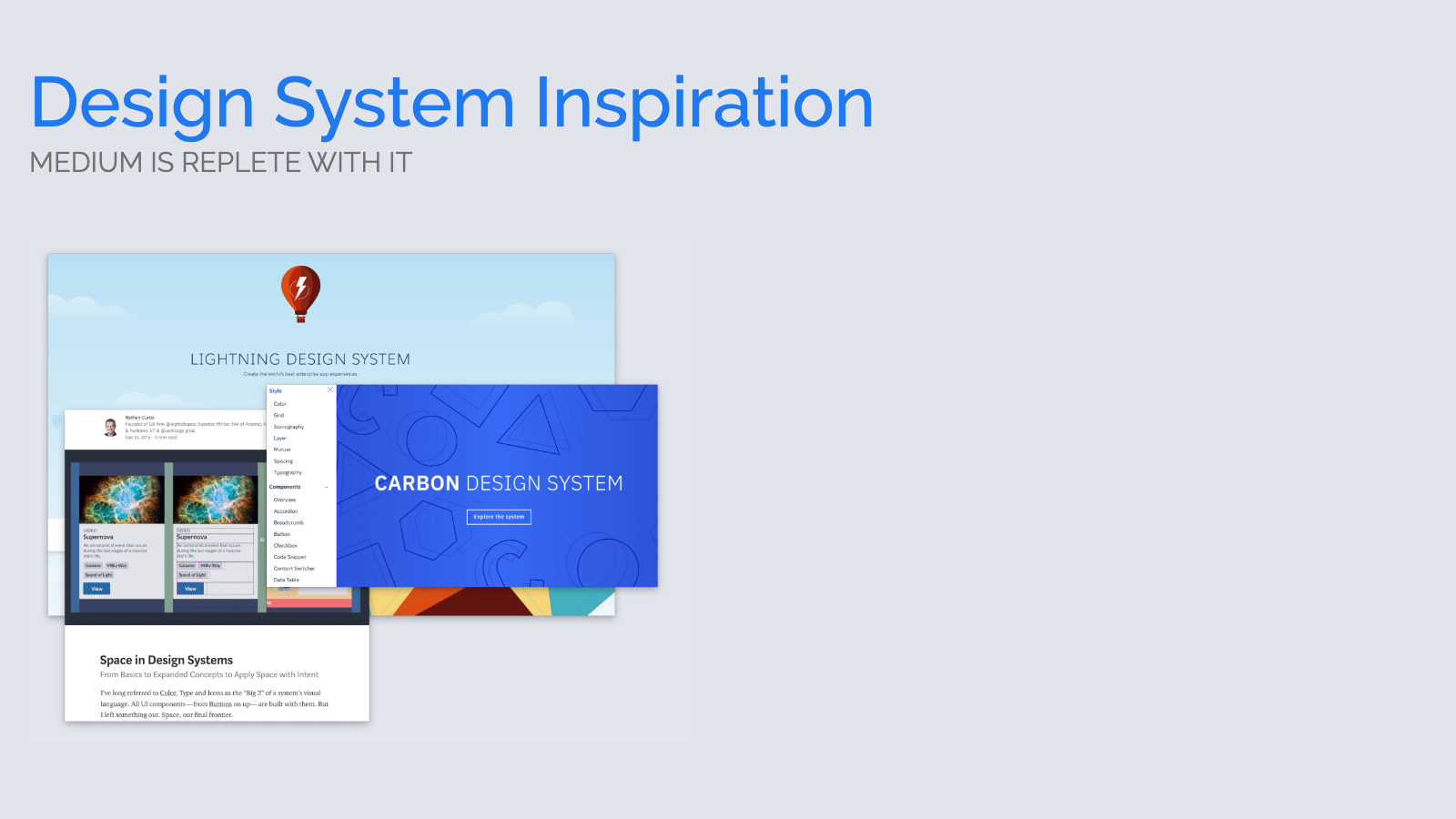 Slide content, Design system inspiration