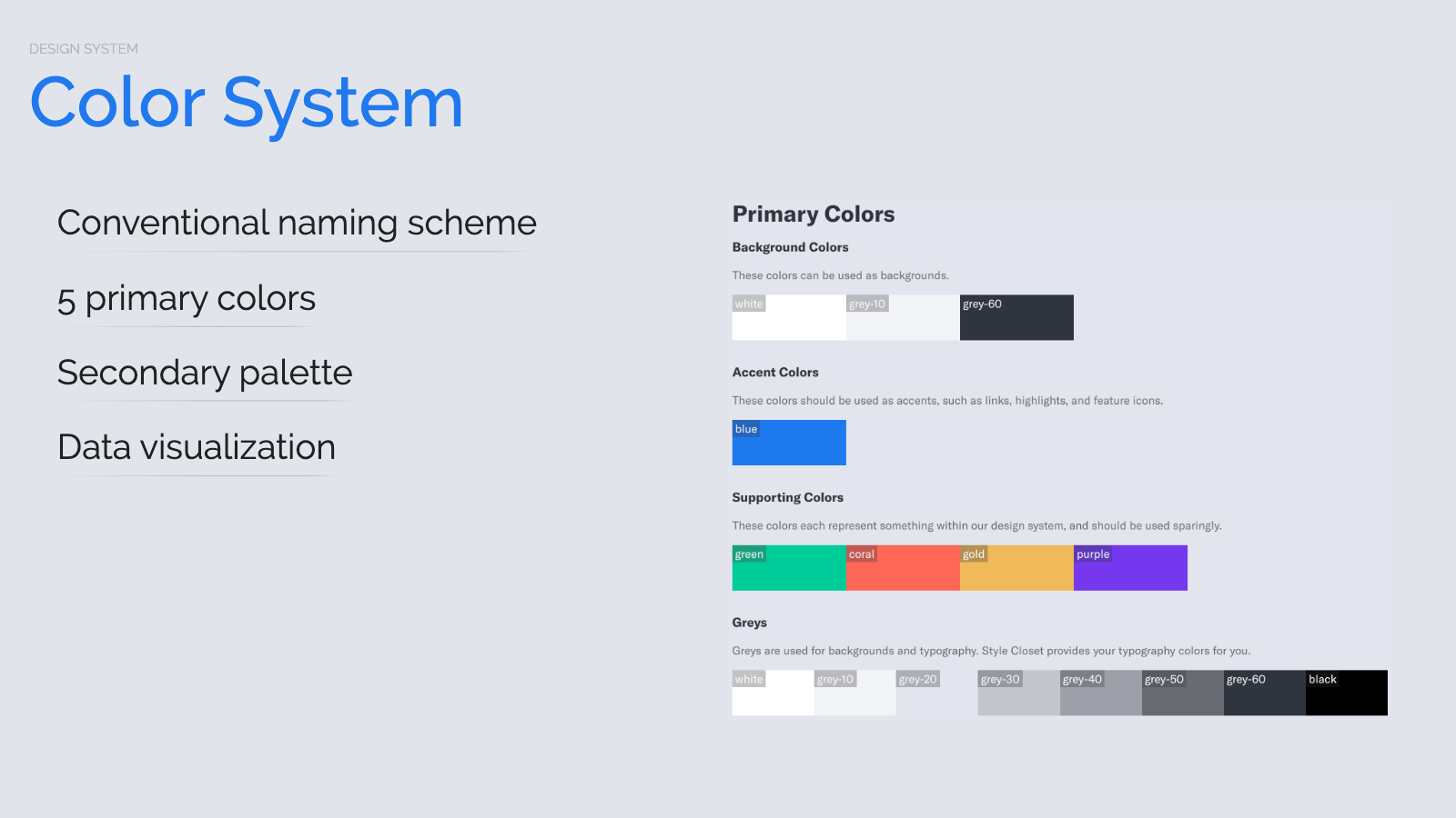 Slide content, Color system, primary colors