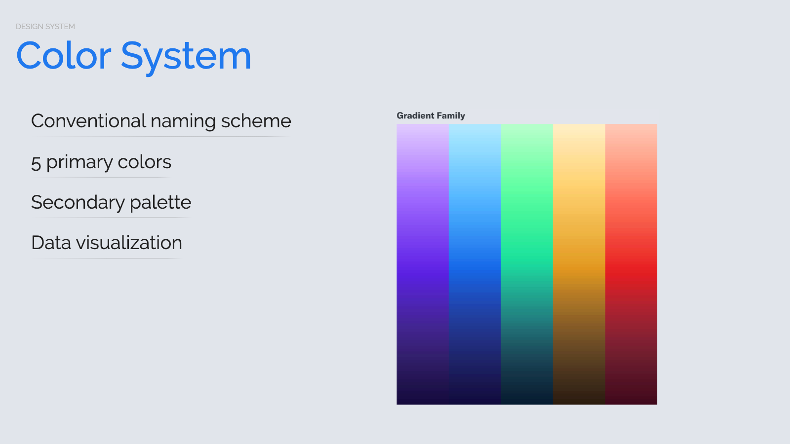 Slide content, Color system, gradient families
