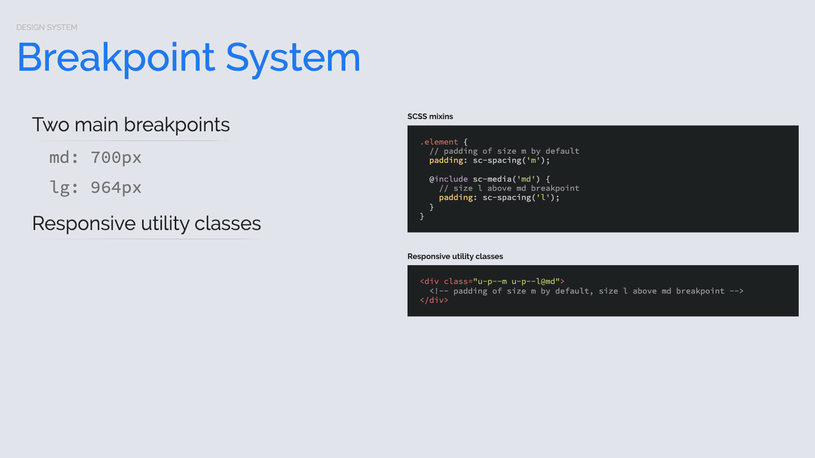 Slide content, Breakpoint system