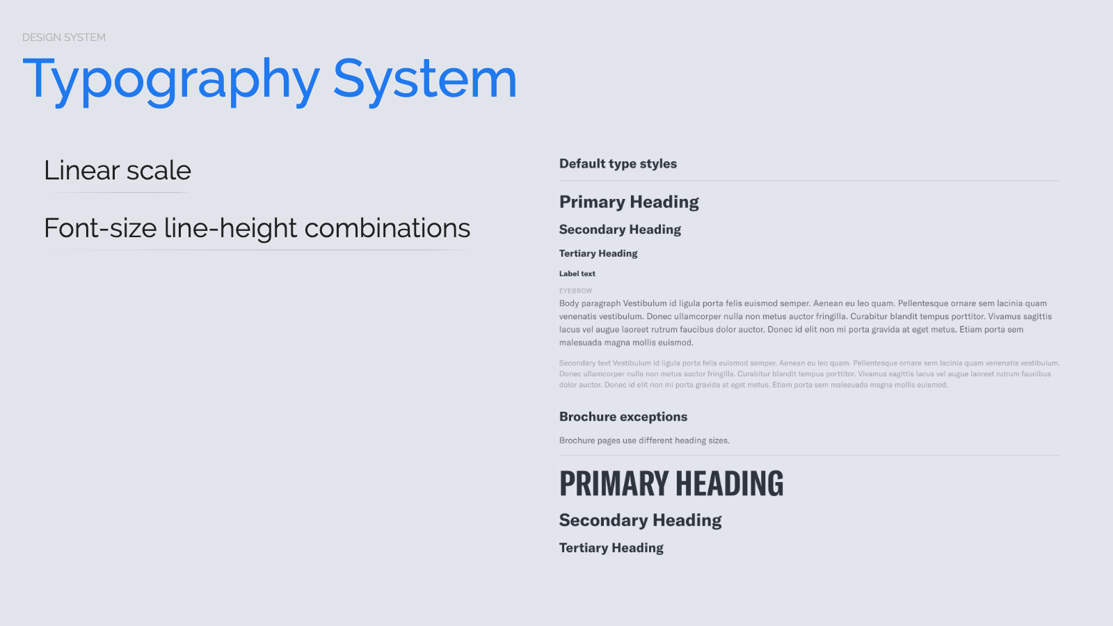 Slide content, Typography system