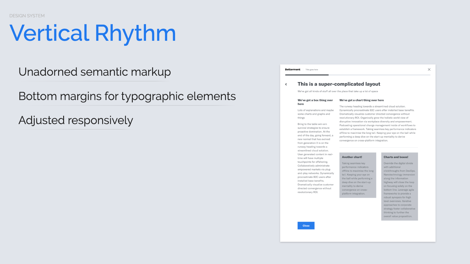 Slide content, Vertical rhythm, desktop example
