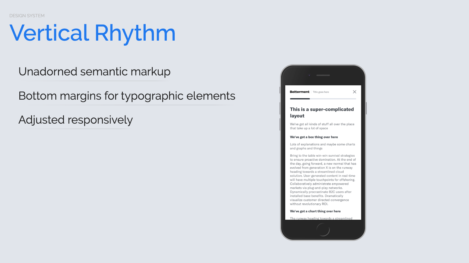 Slide content, Vertical rhythm, mobile example