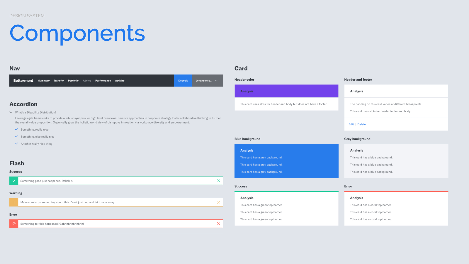 Slide content, Design system components, e.g. Nav, Accordion, Flash, Card variants