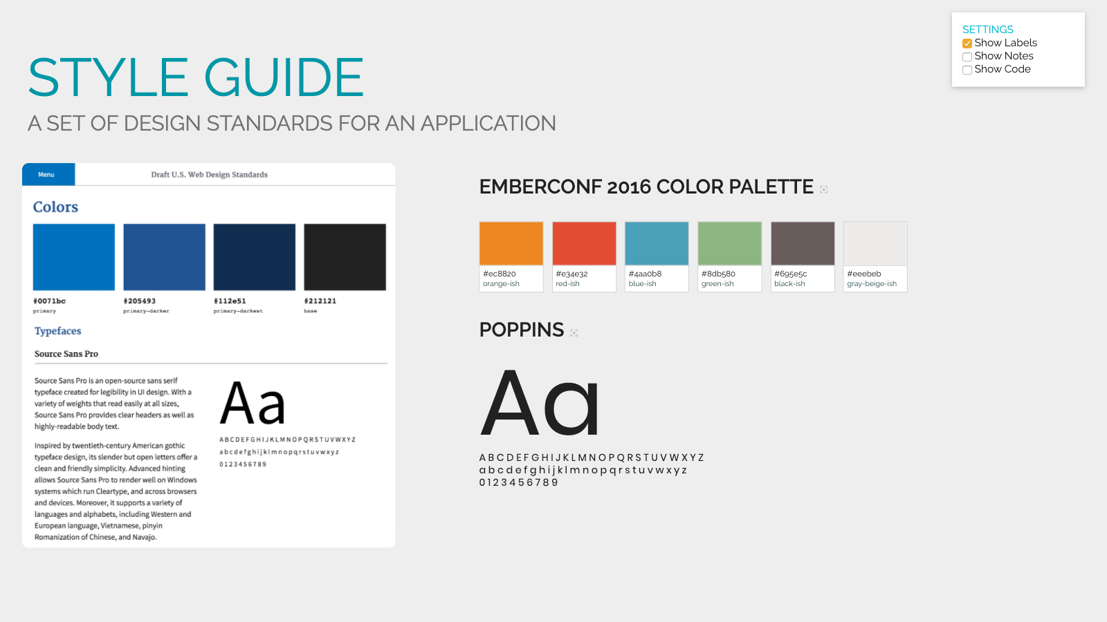 Slide content, Style guide, a set of design standards for an application