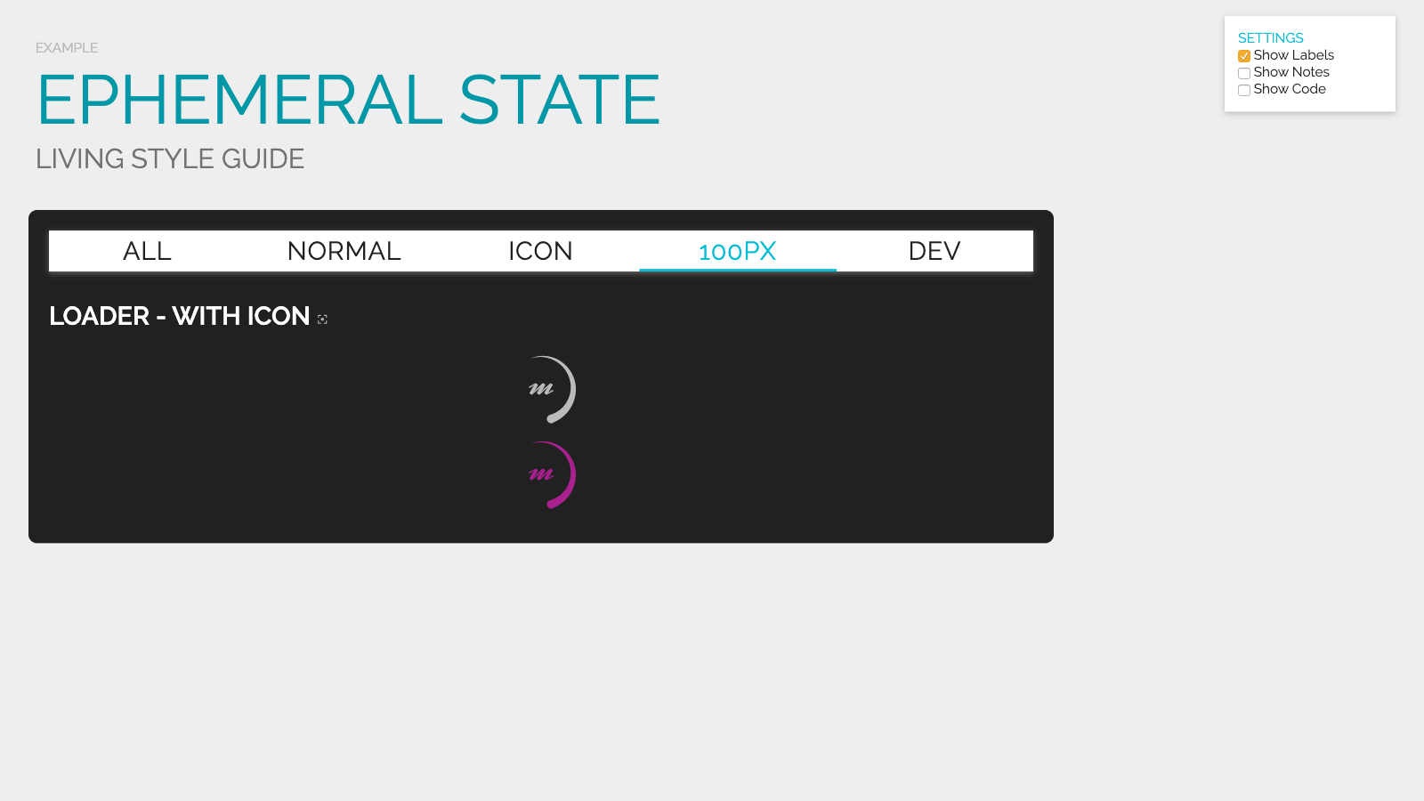 Slide content, Presenting ephemeral state in a living style guide