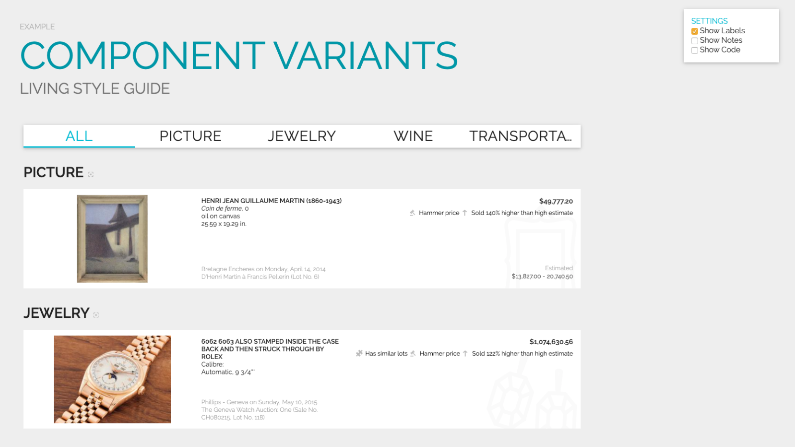 Slide content, Presenting component variants in a living style guide