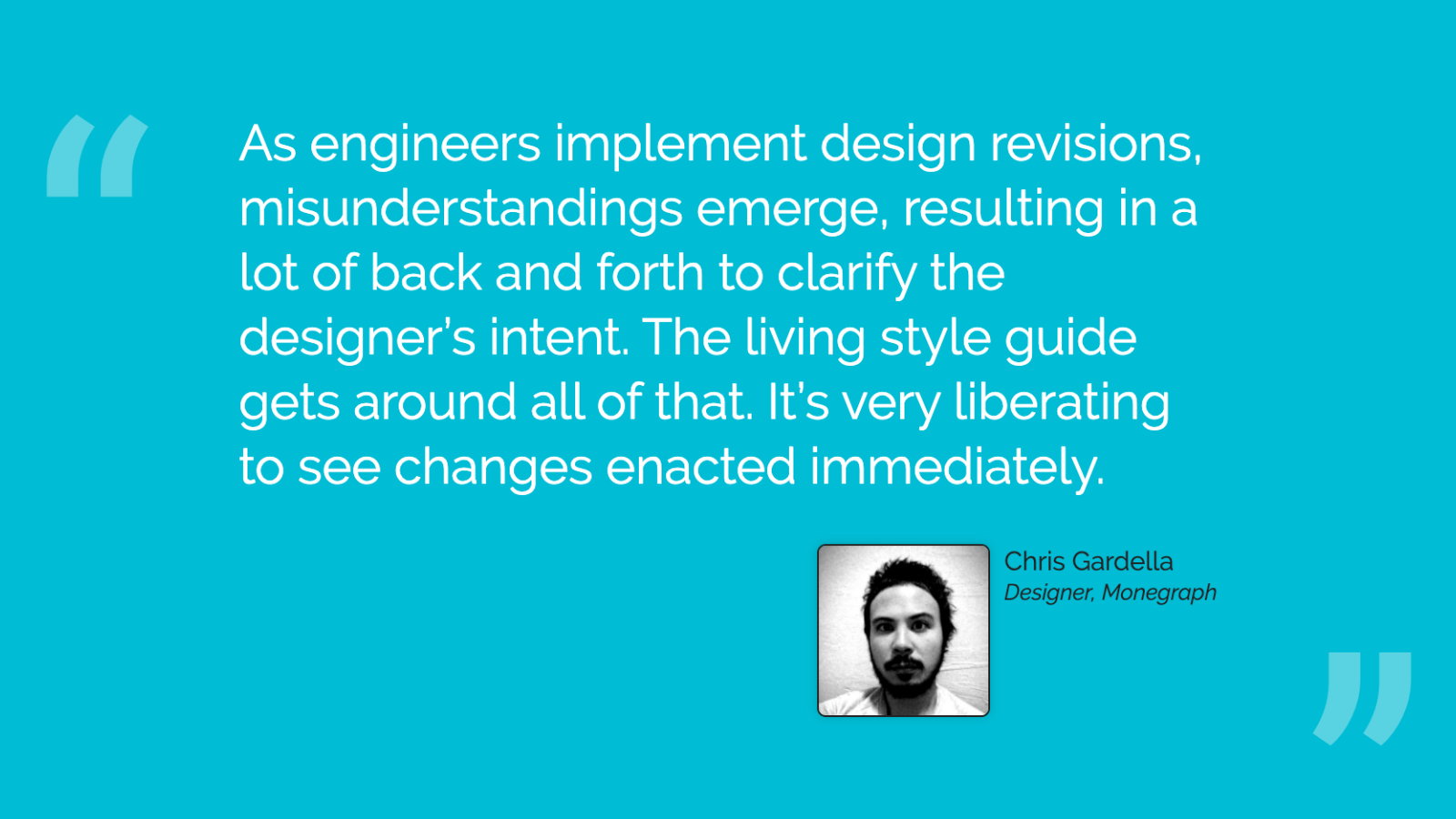 Slide content, Designer testimonial for the benefits of living style guide driven development