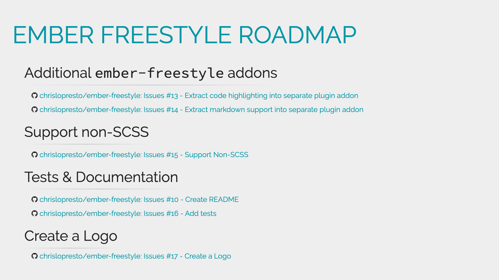 Slide content, Ember Freestyle roadmap