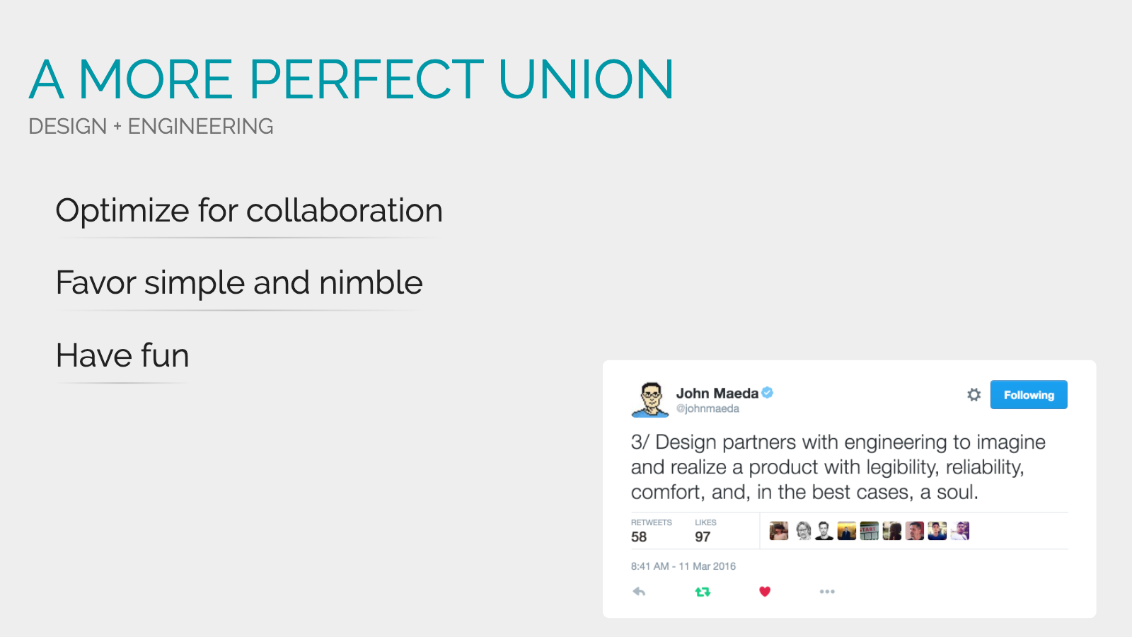 Slide content, A more perfect union of design + engineering